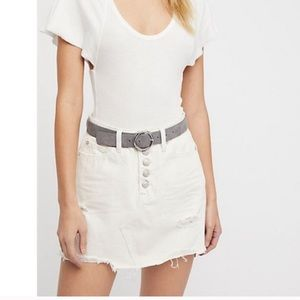 Free People A-line off white denim skirt